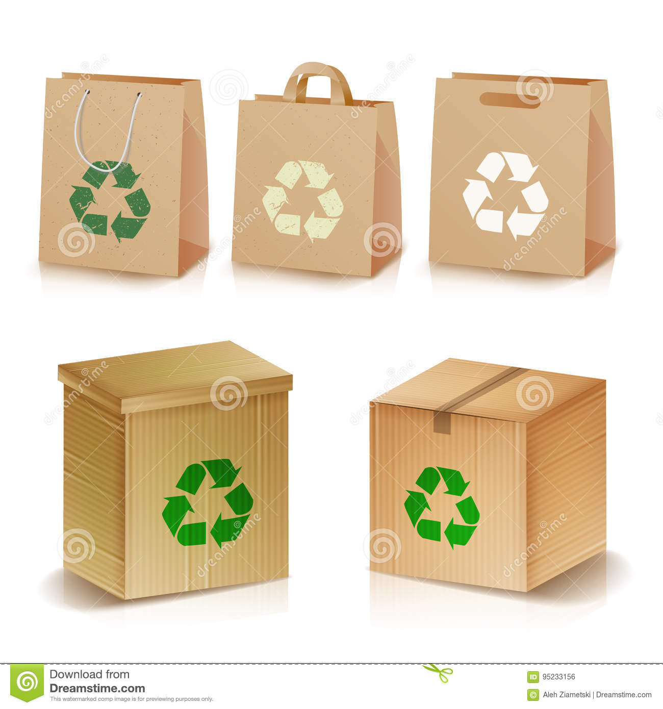 Recycling Paper Bags And Boxes. Realistic Blank Ecologic Craft Package. Illustration Of Recycled Brown Shopping Paper