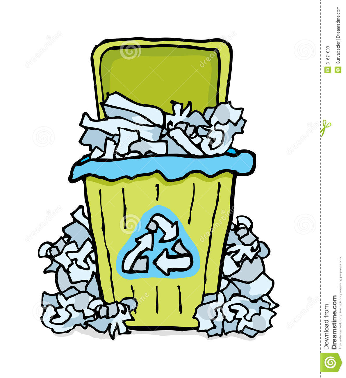 recycling paper bin stock illustration. illustration of messy - 31671099