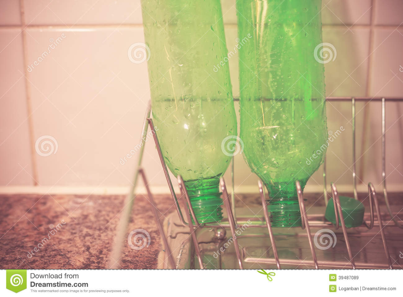 recycling plastic bottles at home stock photo image
