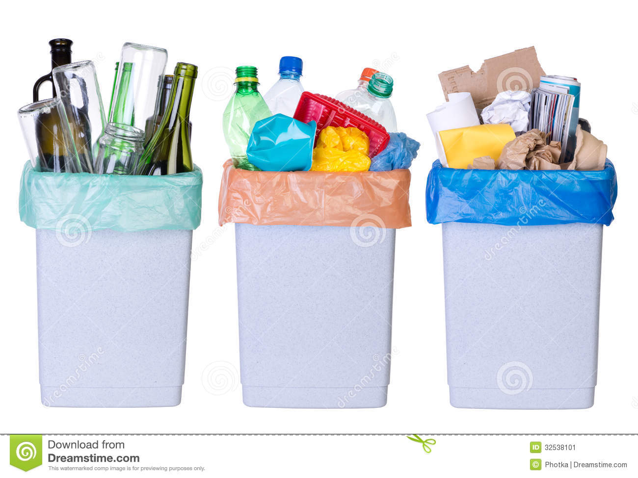 Recycling rubbish. Tree bins full of plastic, paper and glass isolated ...