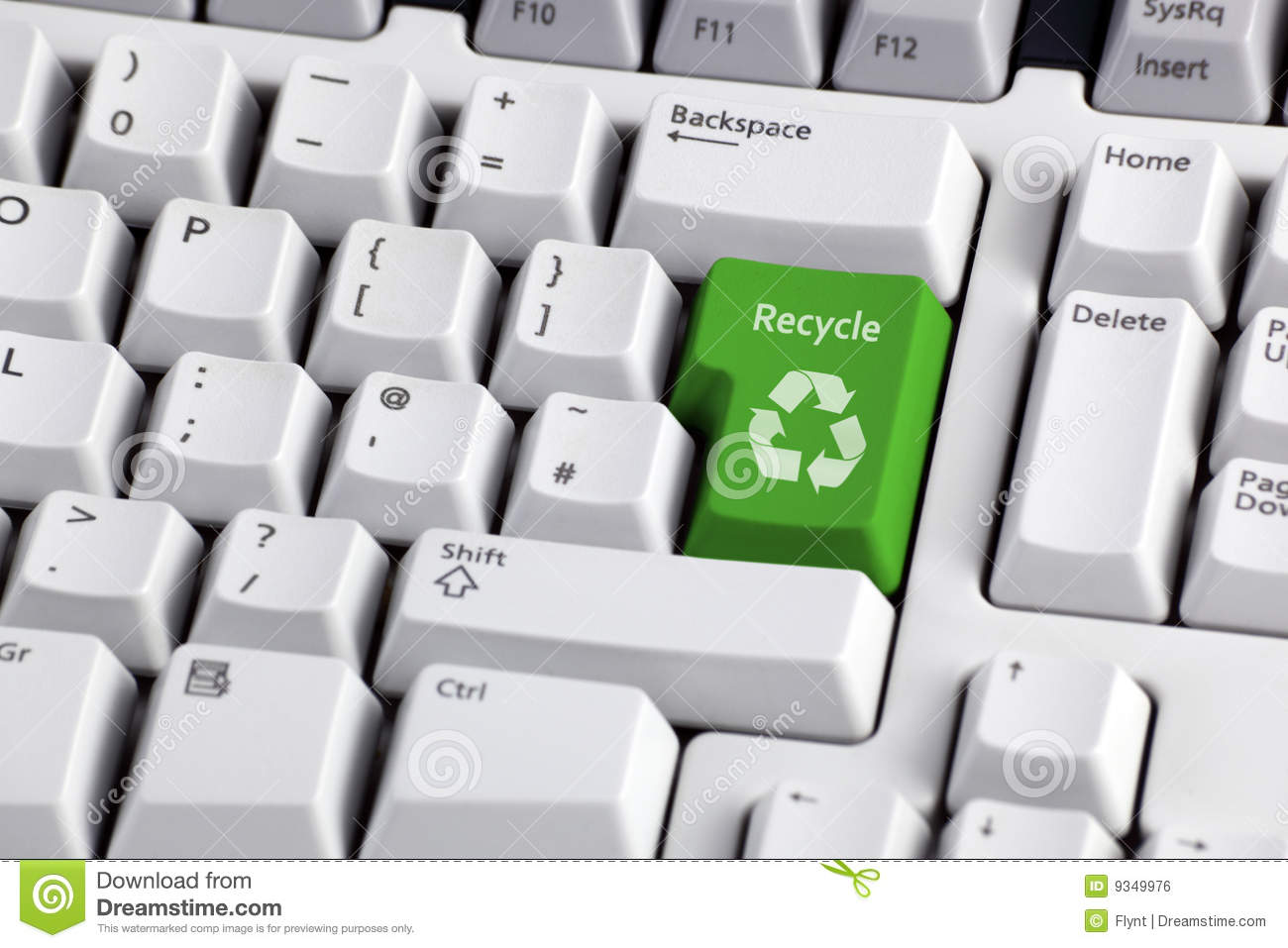 Recycling Symbol On Keyboard Stock Photo Image Of Concepts