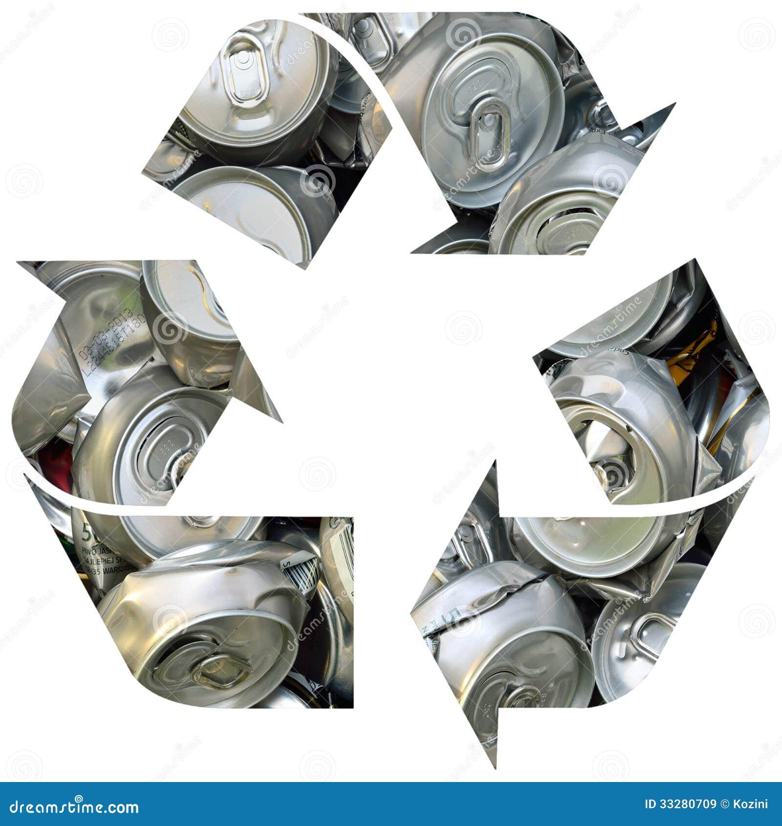 recycling symbol mit dosen stockbild bild von nave hintergrund 33280709. Black Bedroom Furniture Sets. Home Design Ideas