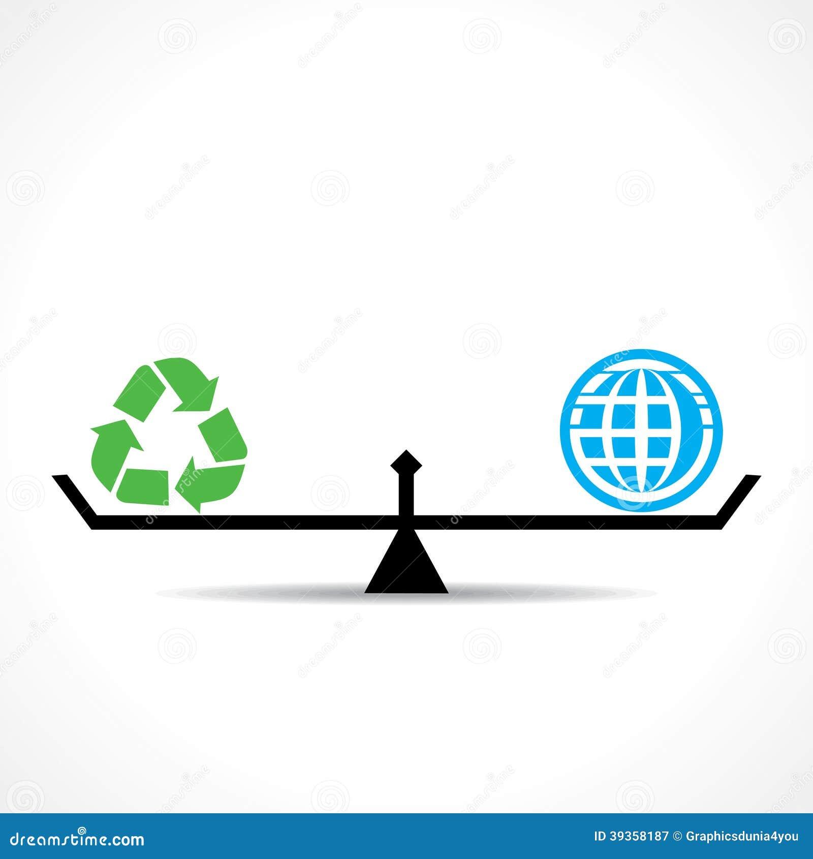 Recycling-Symbol und globale beide sind Gleichgestelltes, gehen Grün und speichern Erdkonzept