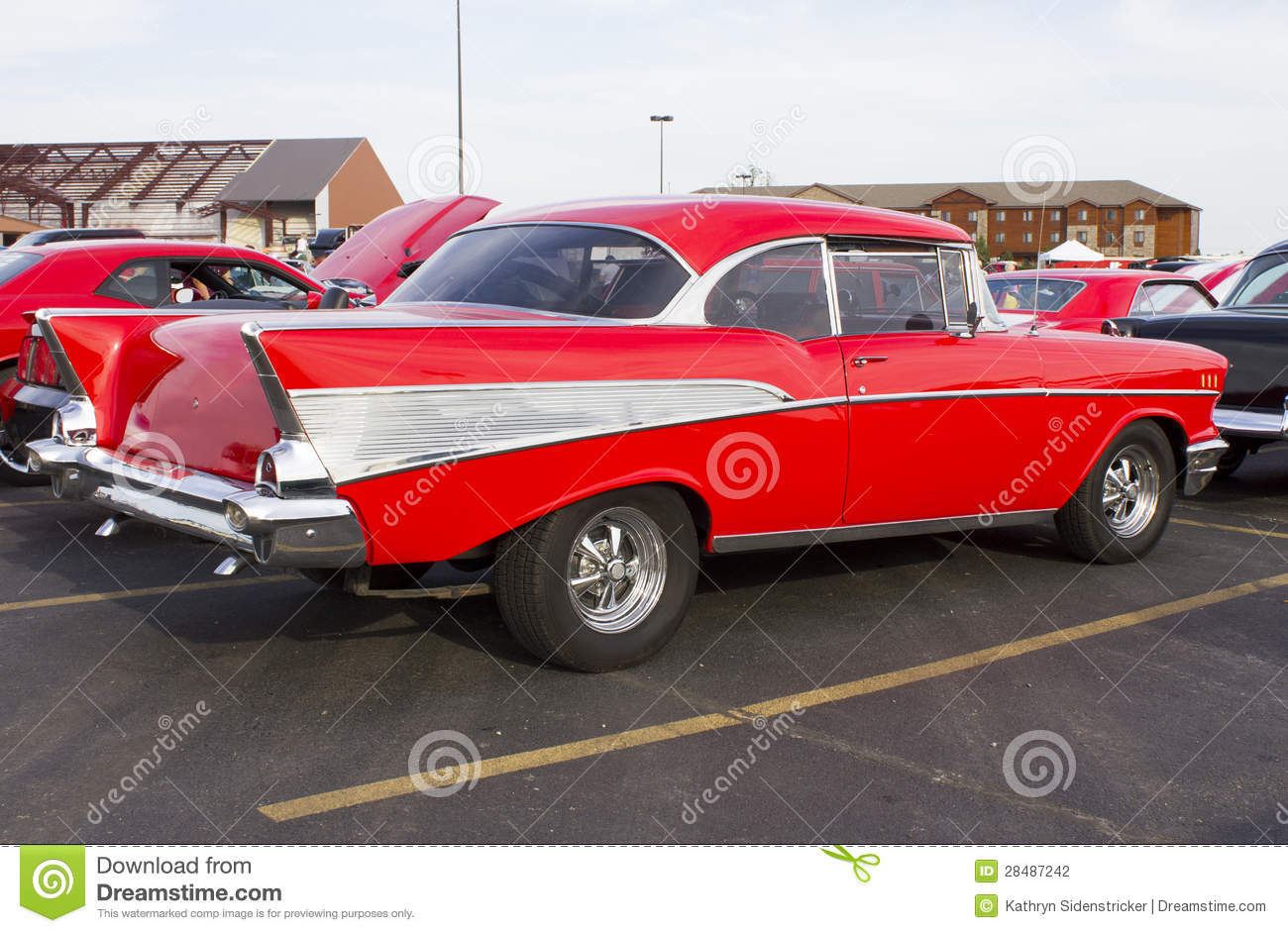 Red 1957 Chevy Rear Side View Stock Photo Image Of Restoration 57 Bel Air Bumper