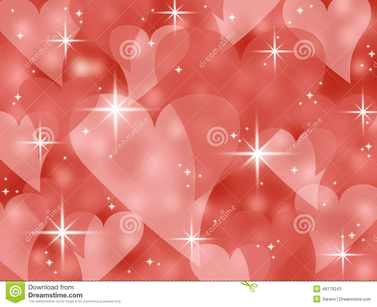 Red Abstract Bokeh Heart Valentines Day Card Background Illustration