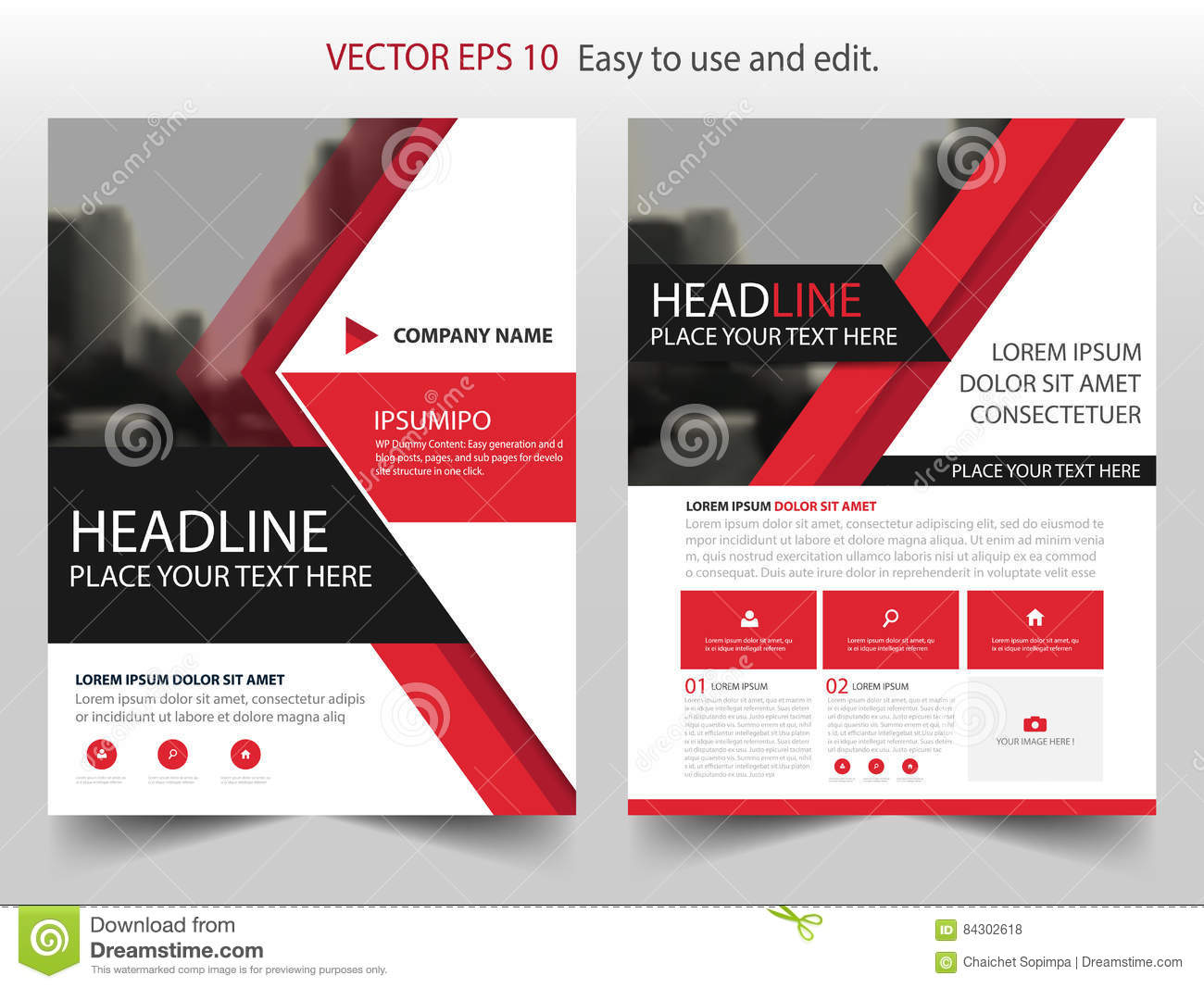 red abstract triangle annual report brochure design template vector