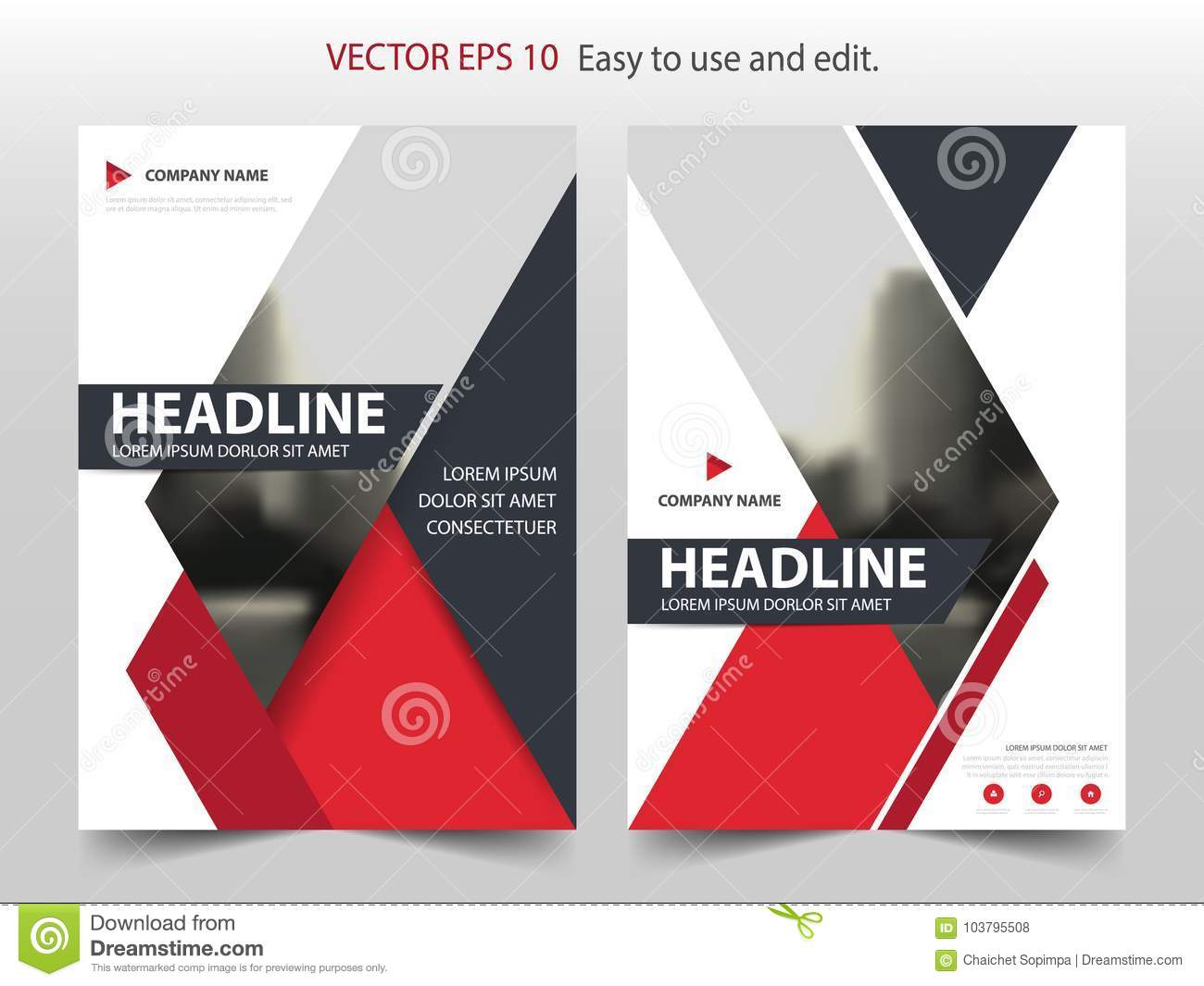Red abstract triangle Brochure annual report design template vector. Business Flyers infographic magazine poster.