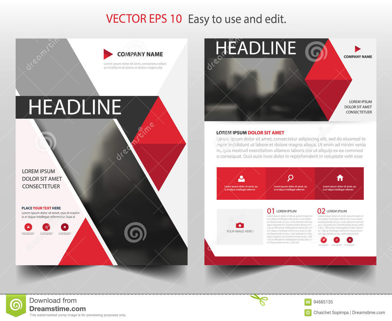 red abstract triangle brochure design template vector business