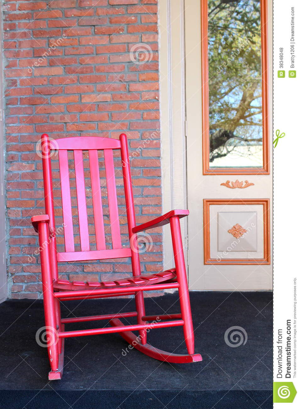 Red Adirondack Chair On Front Porch Stock Photo Image