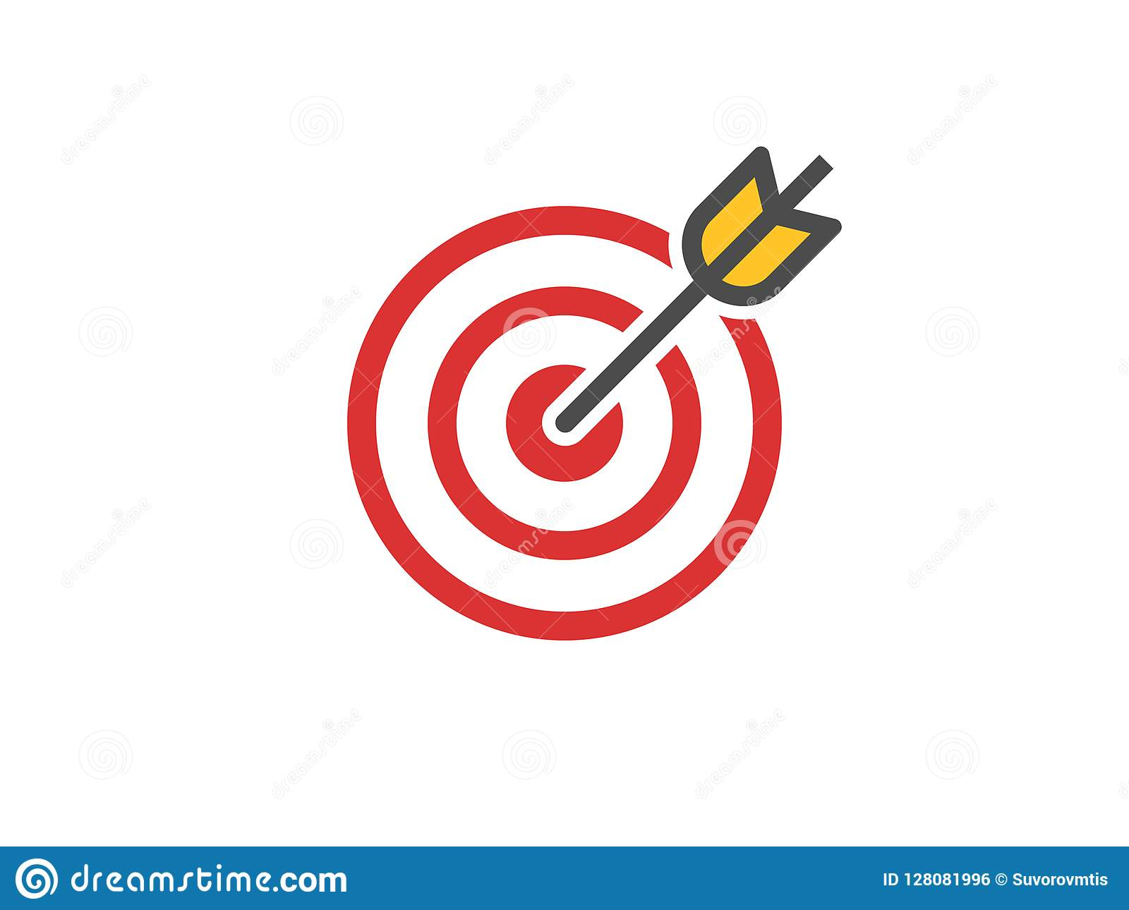 Red Aim Icon. Target And Arrow...