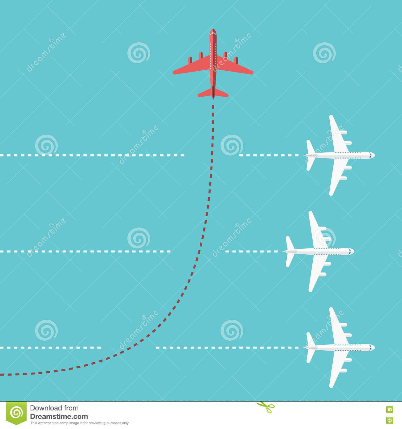 Red airplane changing direction