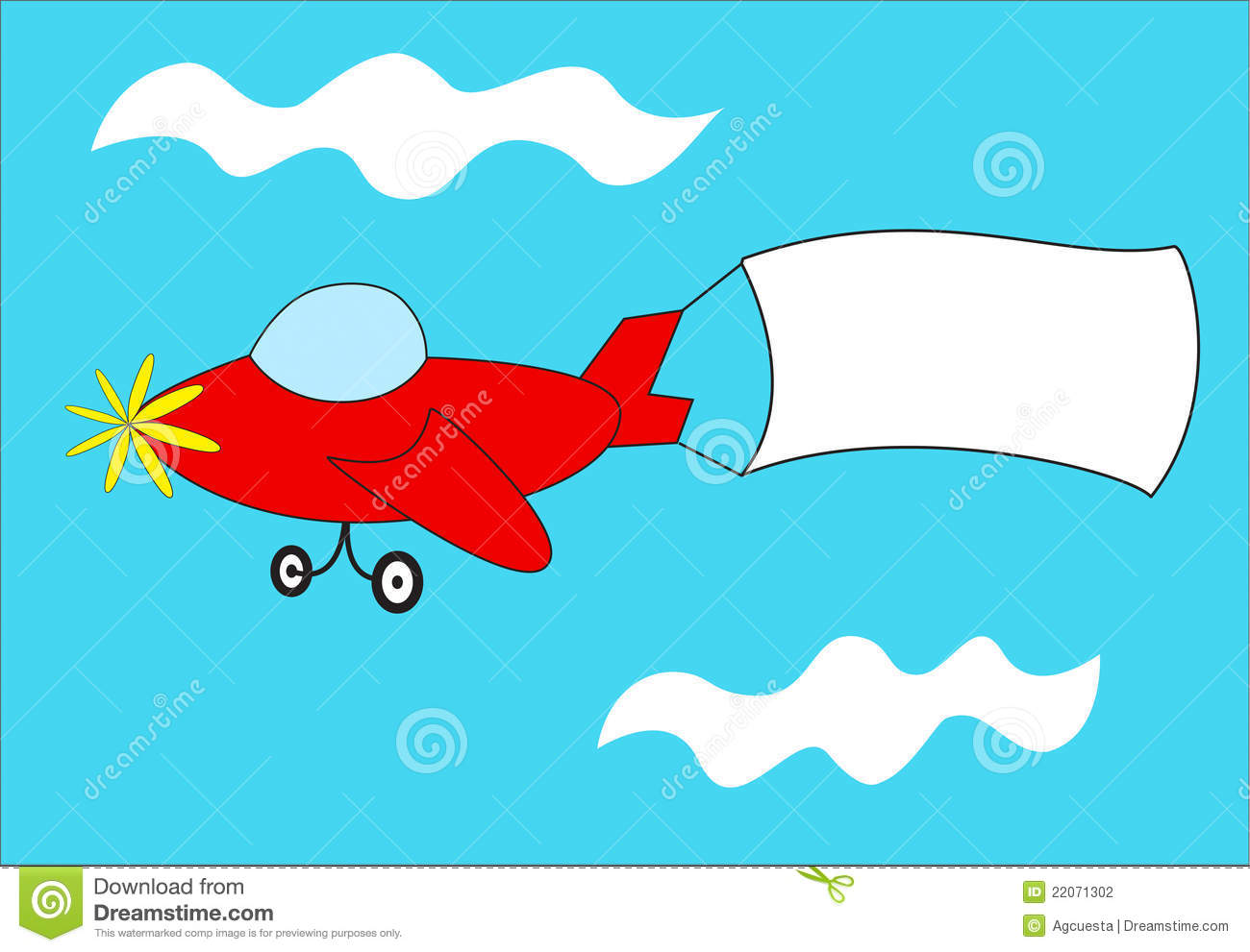 Red Airplane Pulls Blank Banner Stock Illustration