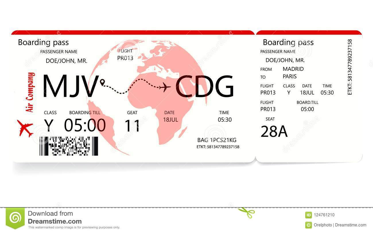 Red Airplane Ticket. Boarding Pass Ticket Template Stock Vector ...