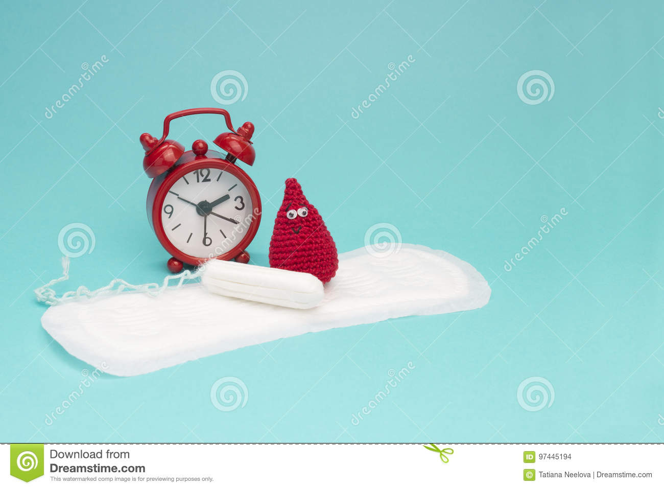 Red alarm clock, dreamy smile crochet blood drop, daily menstrual pad and tampon. Menstruation sanitary woman hygiene. Woman criti