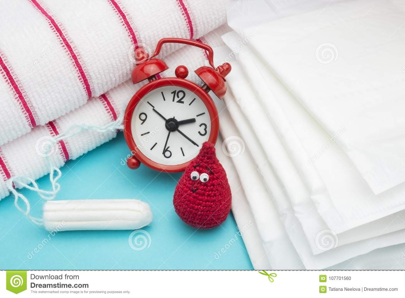Red alarm clock, dreamy smile crochet blood drop, daily menstrual pad and tampon and terry towel. Menstruation sanitary woman hygi