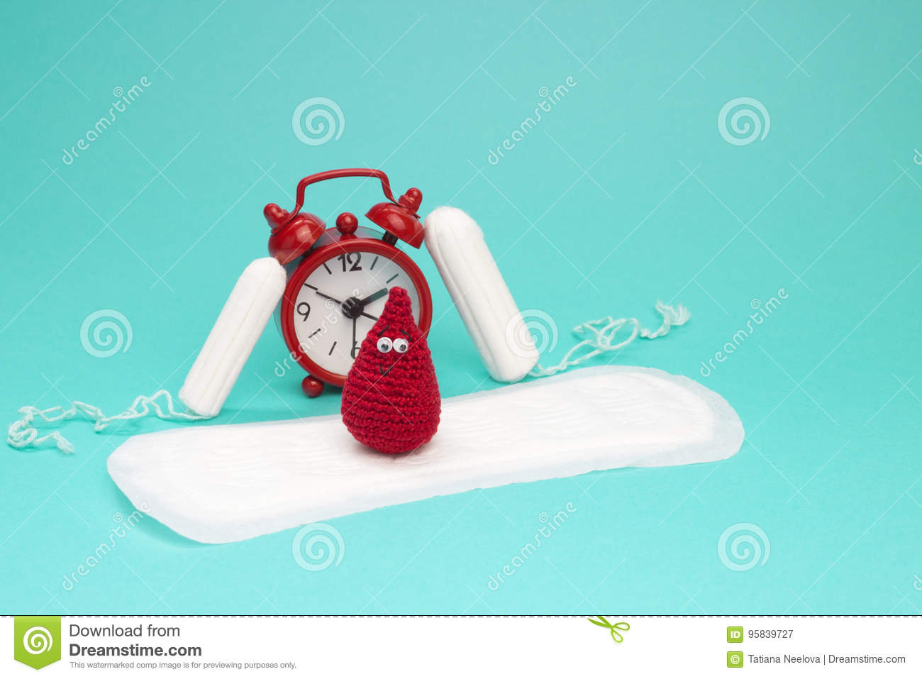 Red alarm clock, dreamy smile crochet blood drop, daily menstrual pad and tampons. Menstruation sanitary woman hygiene. Woman crit