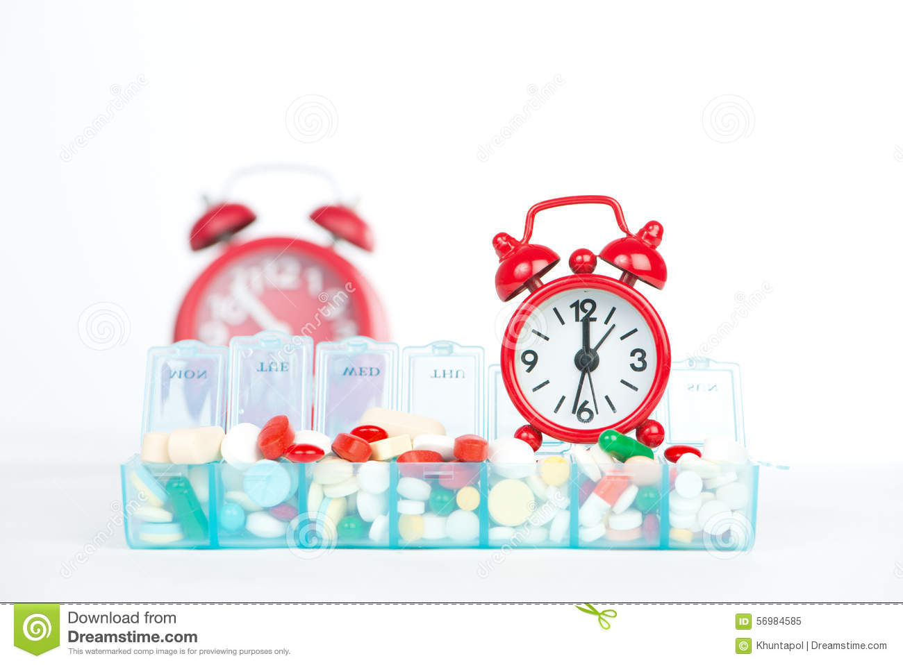 alarm box clock medicine pill red weekly ...  sc 1 st  Dreamstime.com & Red Alarm Clock And Medicine In Weekly Pill Box Stock Photo ... Aboutintivar.Com