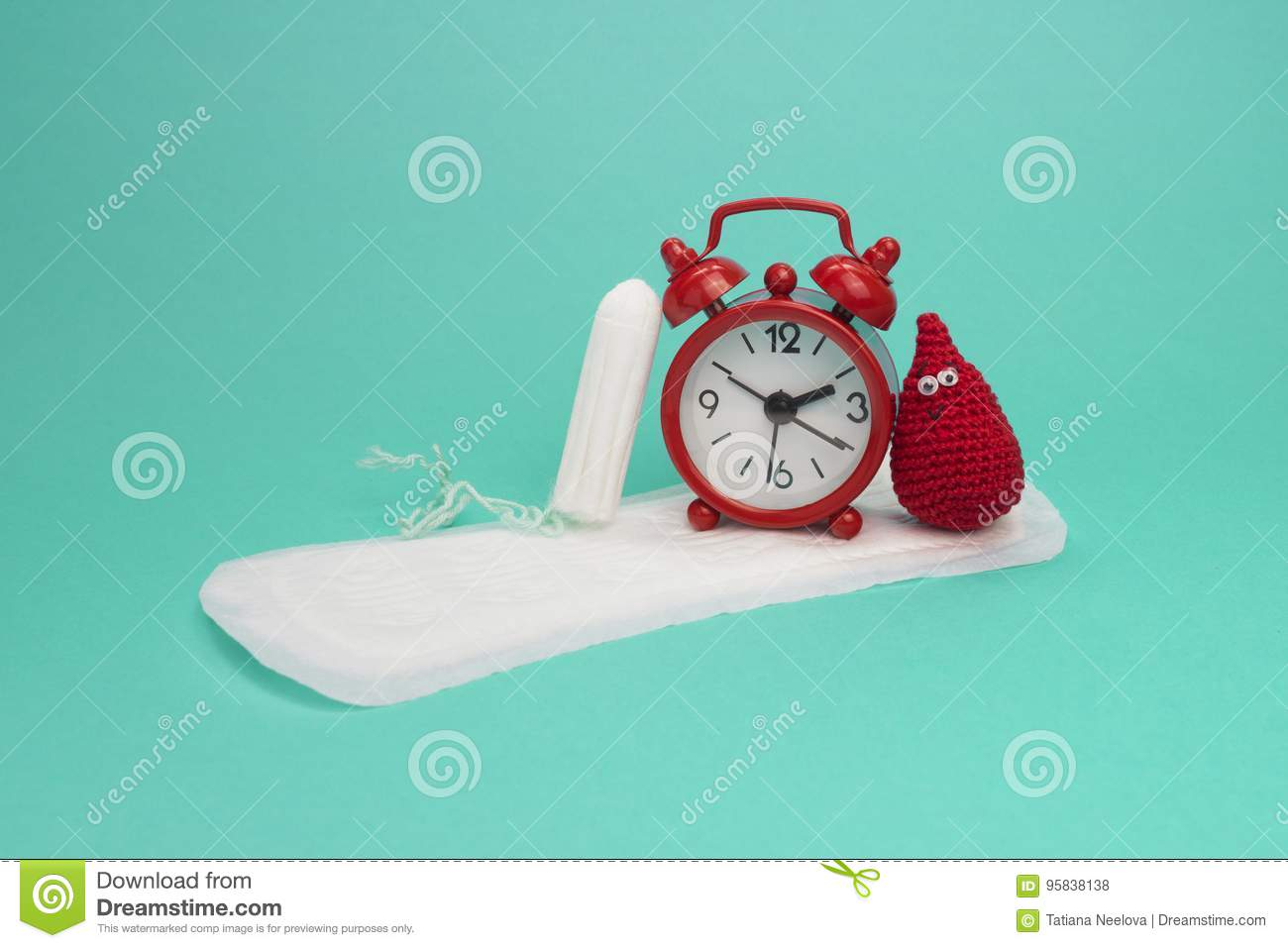 Red alarm clock, smile crochet blood drop, daily menstrual pad and tampon. Menstruation sanitary woman hygiene. Woman critical day