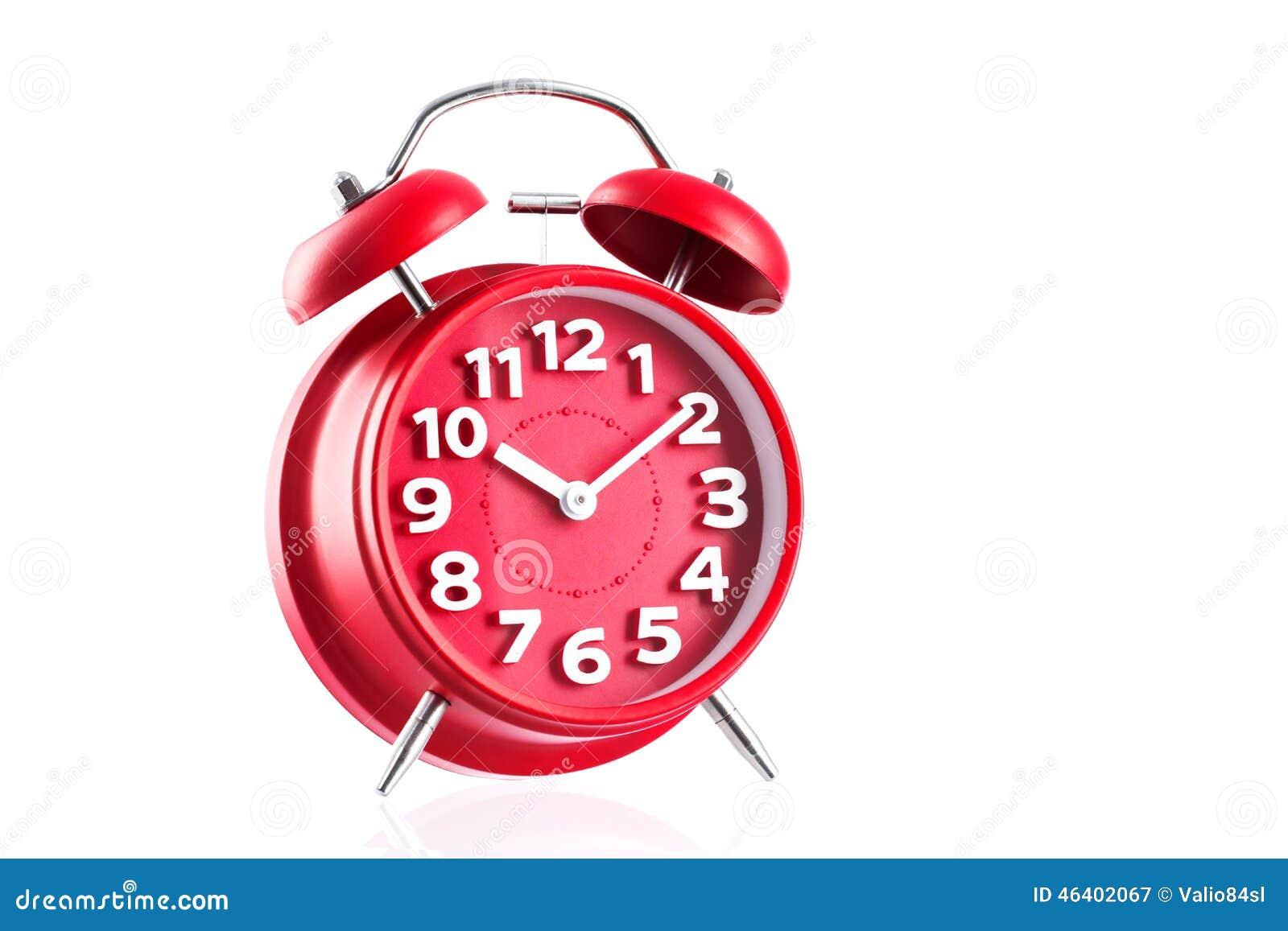 Red Alarm Clock Studio Isolated On White Background Stock ...