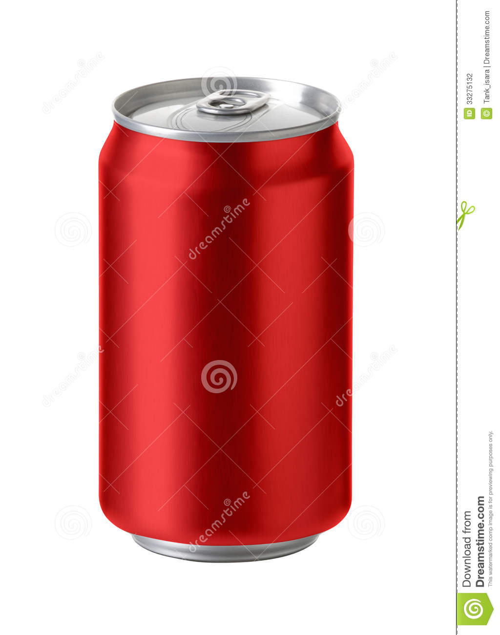 Drink Can From Blank Aluminum Stock Photo: Red Aluminum Cans, Realistic Photo Image Stock Photo