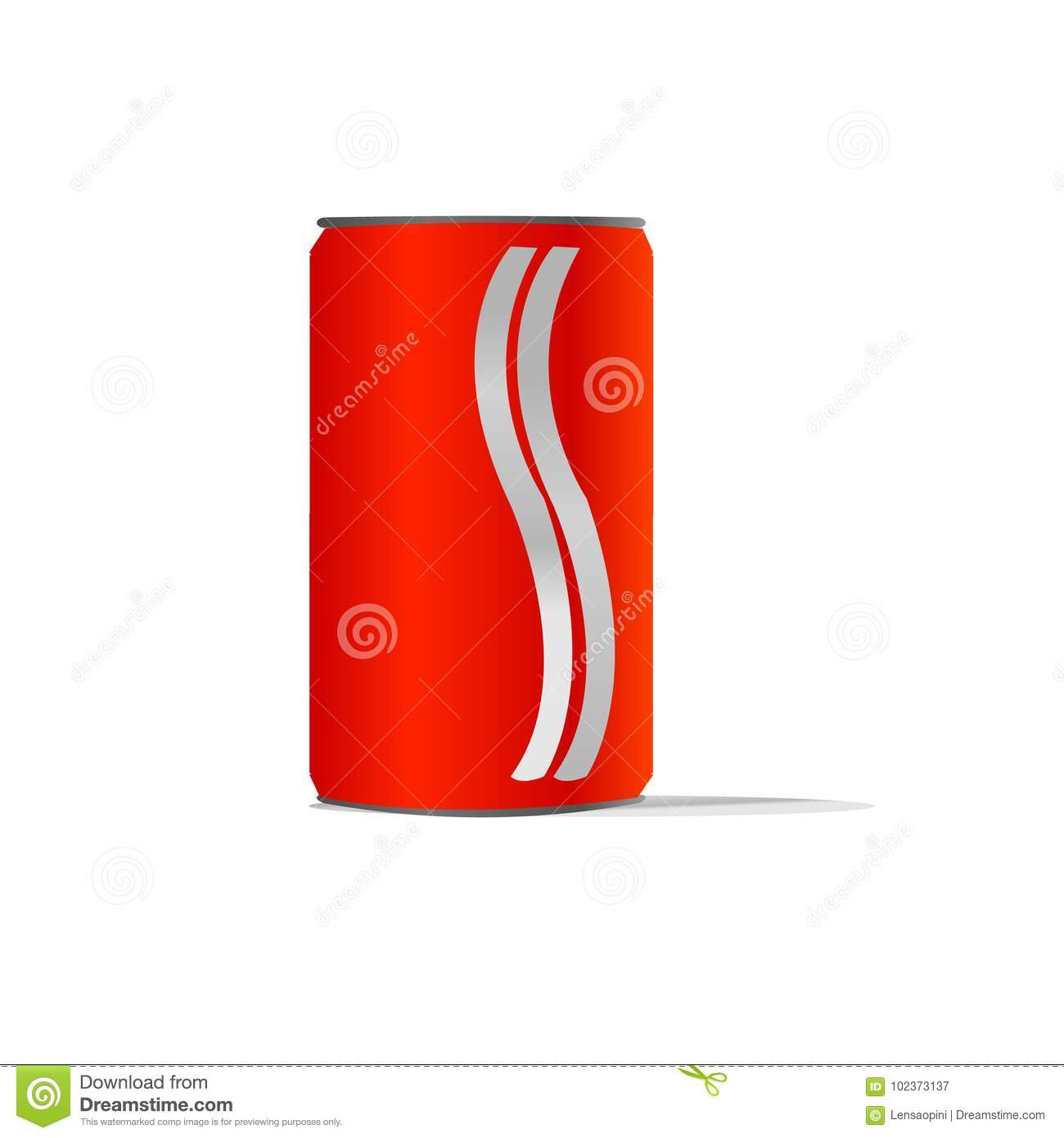 Red aluminum cans with two white line ideal for beer lager alcohol soft drink soda lemonade cola energy drink juice water