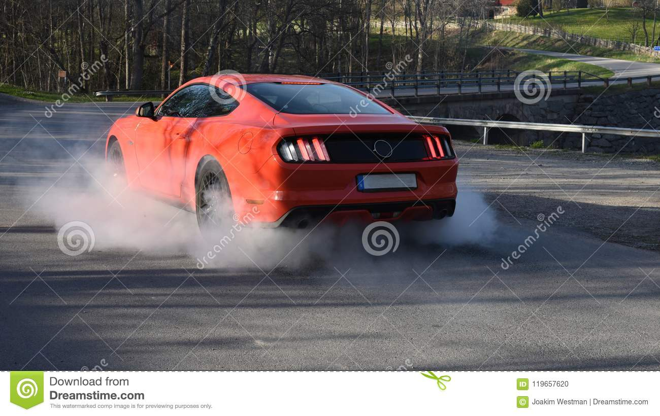 Red American Muscle Car Burnout Stock Photo Image Of Mustang