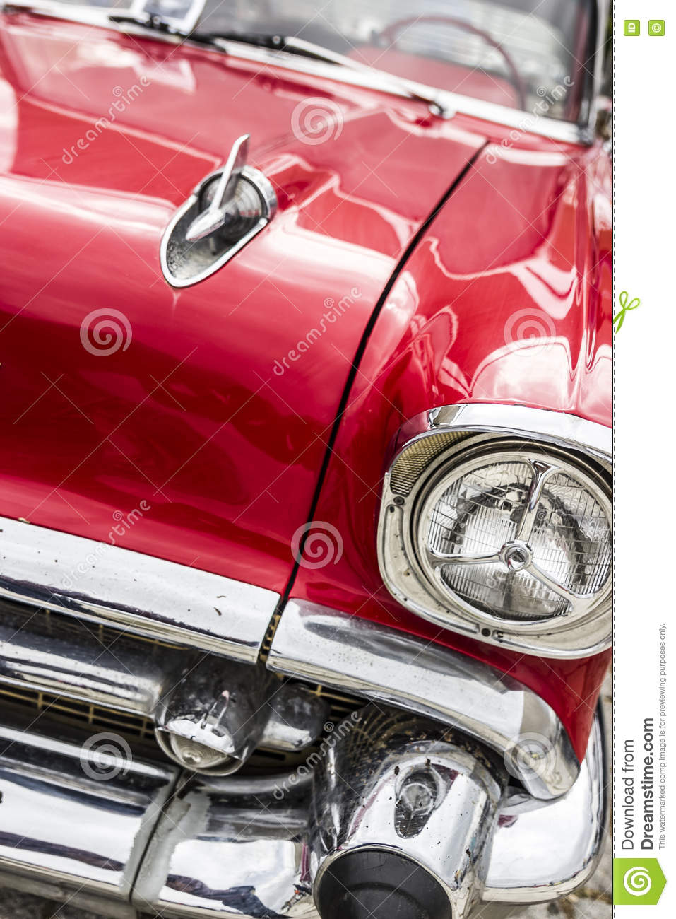 Red American Old Muscle Car Stock Photo - Image of chrome, shiny ...