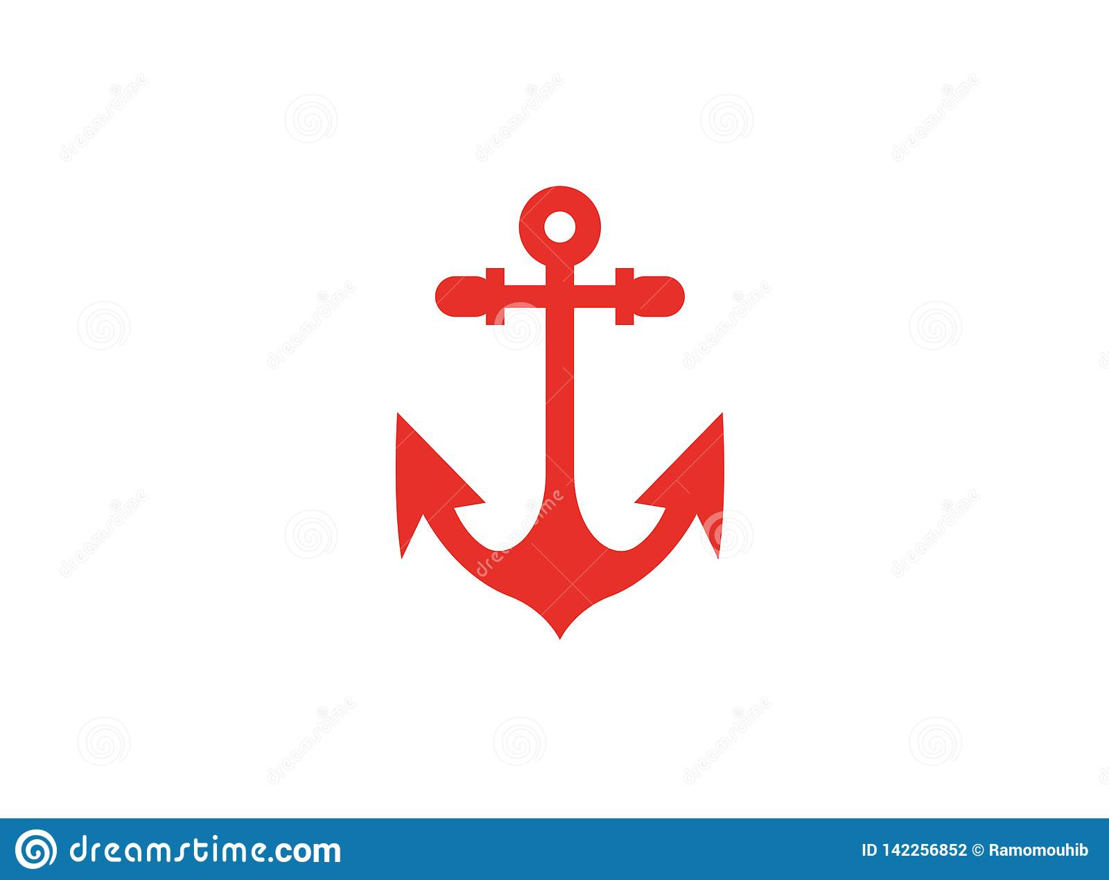 Red anchor for boat and yacht logo