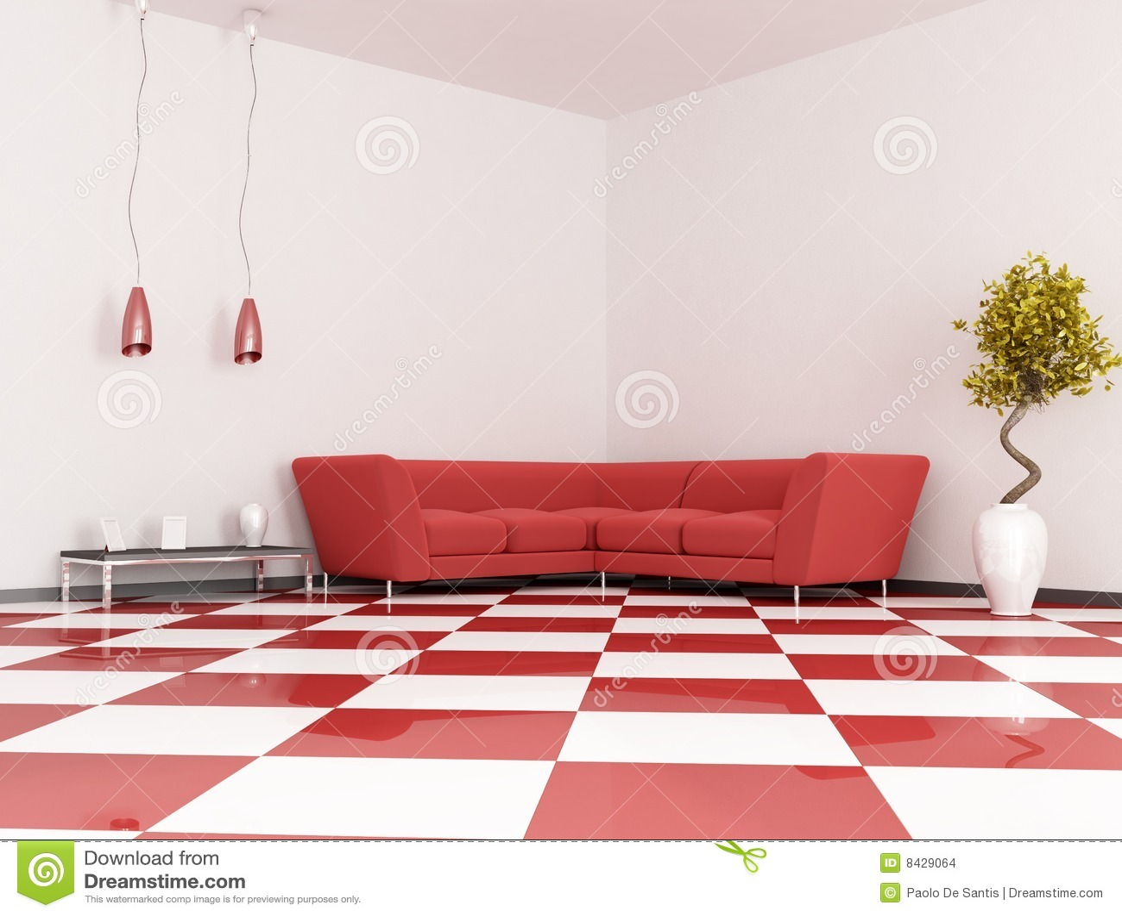 Red angle sofa
