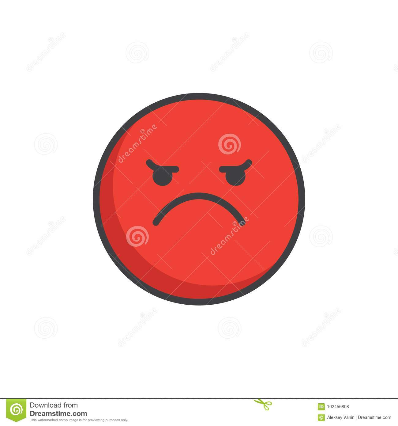 Red Angry Face Emoticon Filled Outline Icon Stock Vector