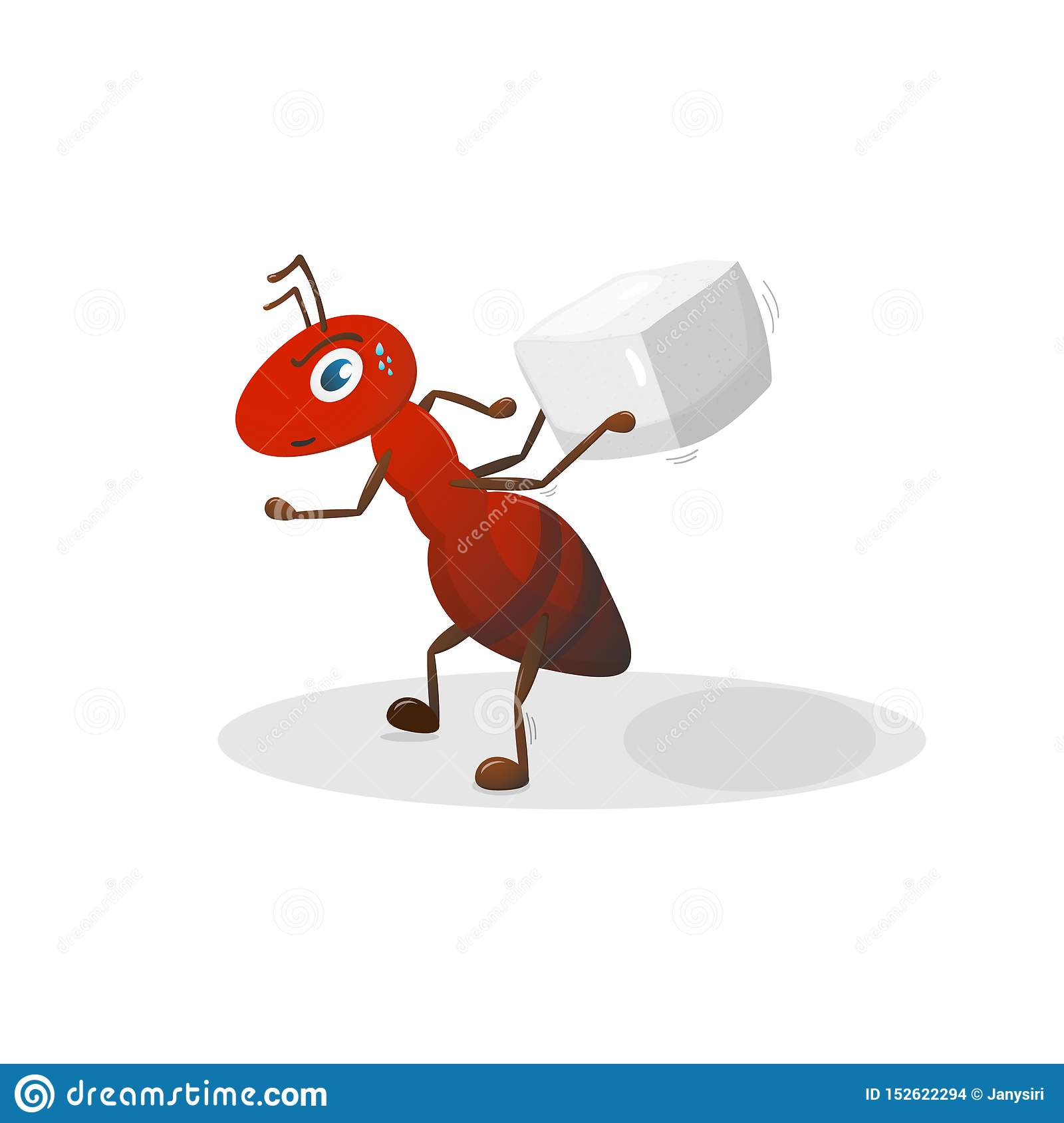 Red ant cartoon character.Objects on white background.
