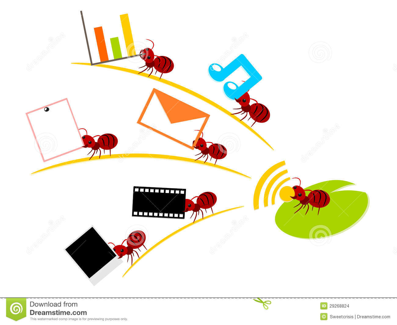 Red Ants Wireless Lan Teamwork Illustration Stock Vector Diagram