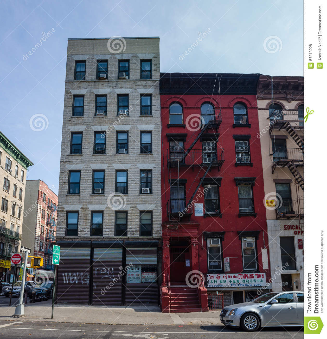 New York City Apartment Buildings: Red Apartment Building In Chinatown Where Main Character