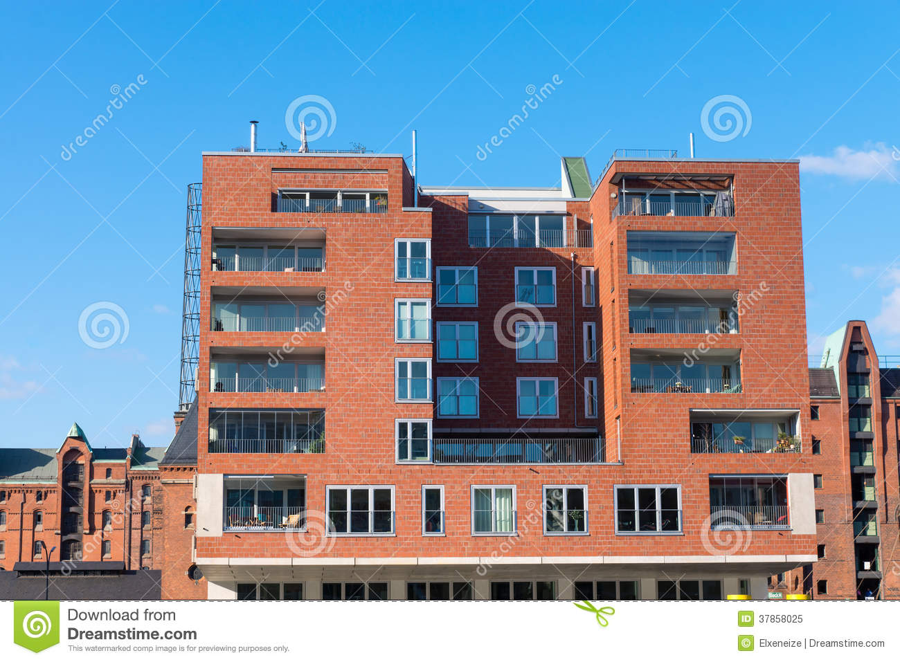 Red Apartment House In Hamburg Royalty Free Stock Photo