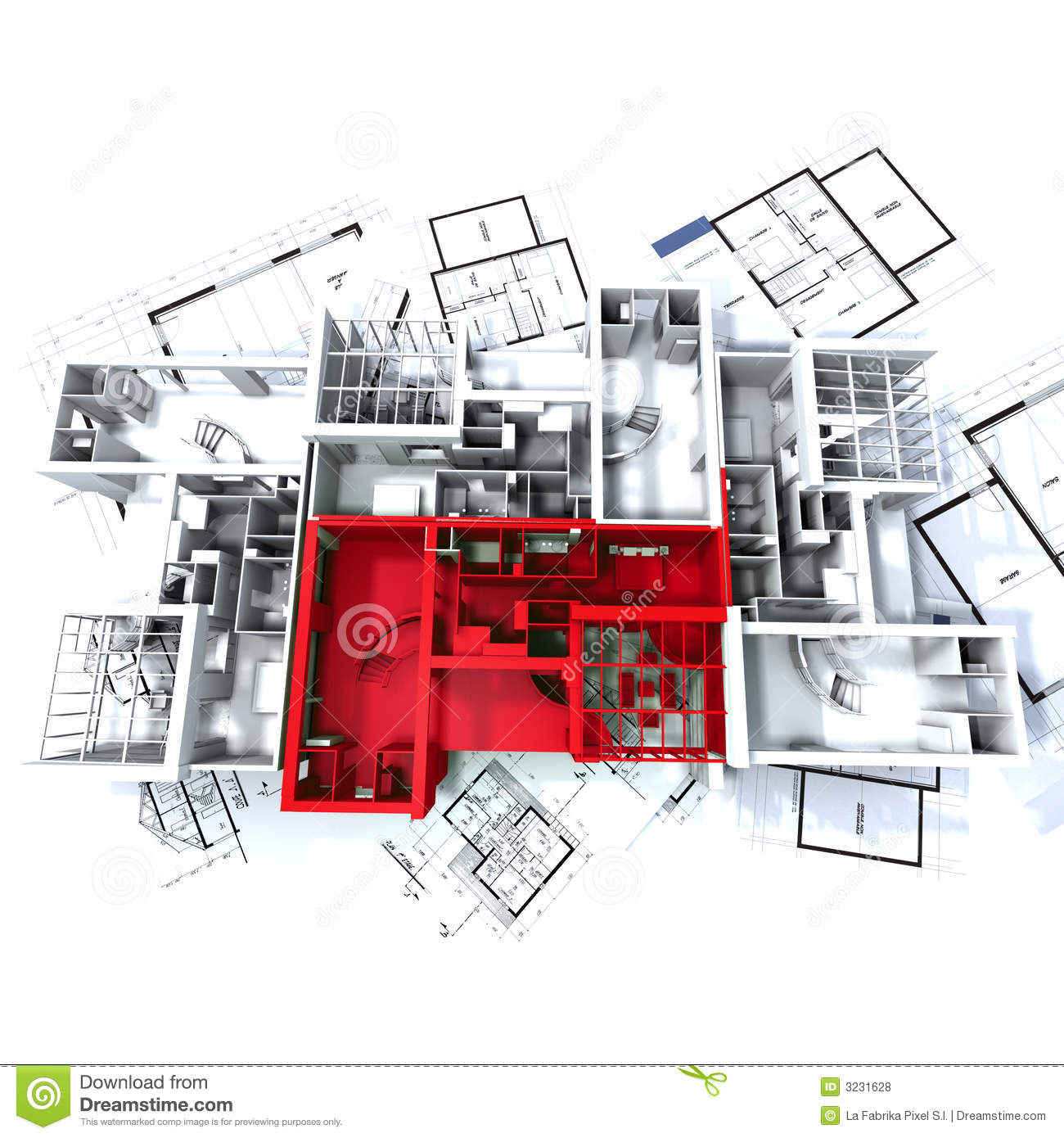 Red apartment mockup on plans royalty free stock photos for Apartment stock plans
