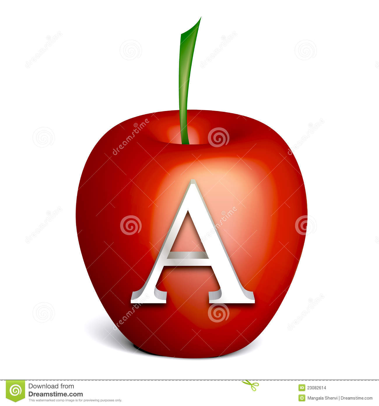 A Alphabet Images Red apple with alphabe...