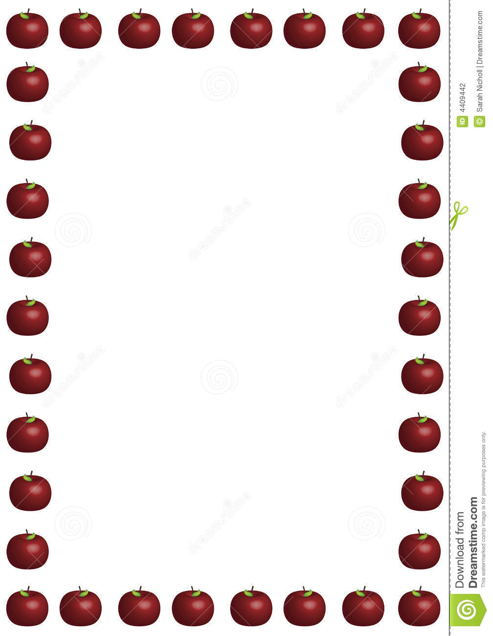 Illustrated border of large red apples on white background.