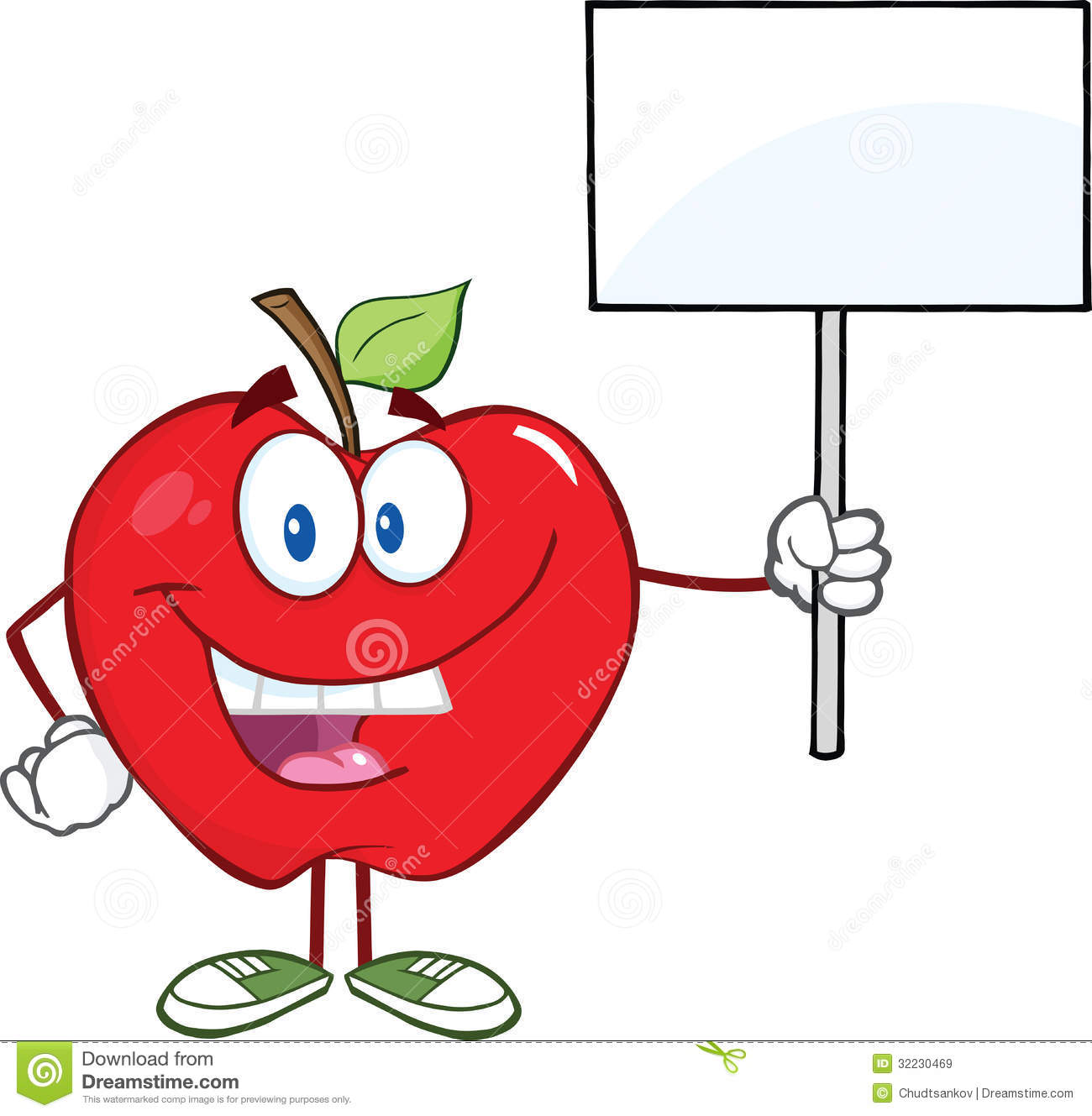 Red Apple Cartoon Character Holding Up A Blank Sig Royalty Free Stock ...