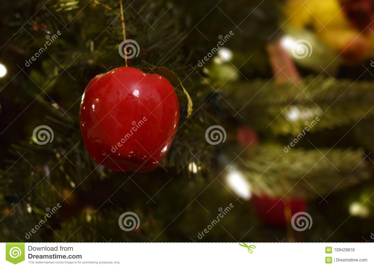 Red Christmas Apple In Christmas Tree With White Lights