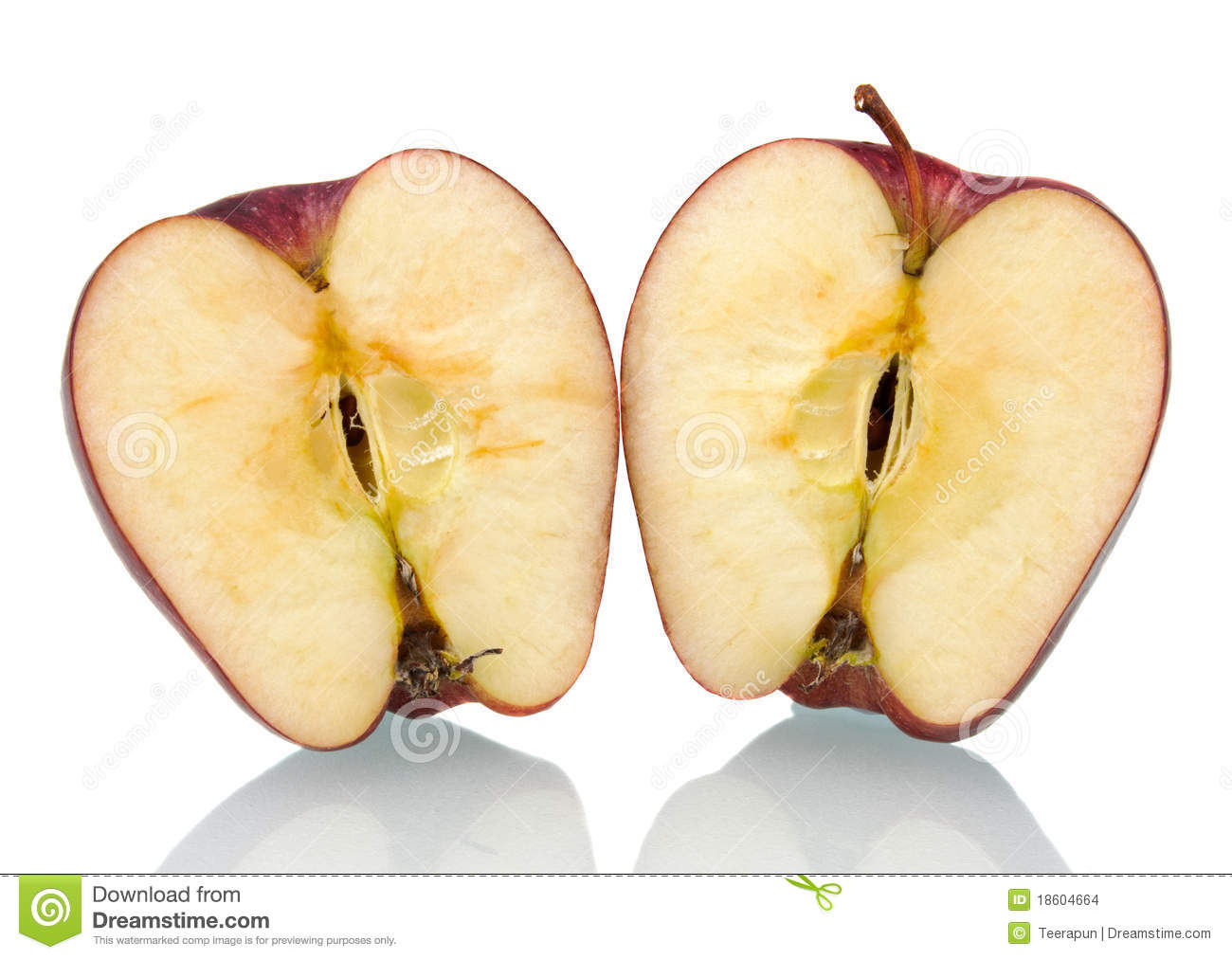 red apple cut in half stock images image 18604664