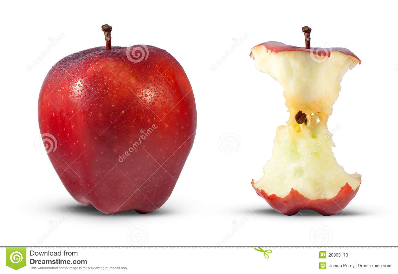 Red Apple Eaten To Core Stock Photos - Image: 20009173