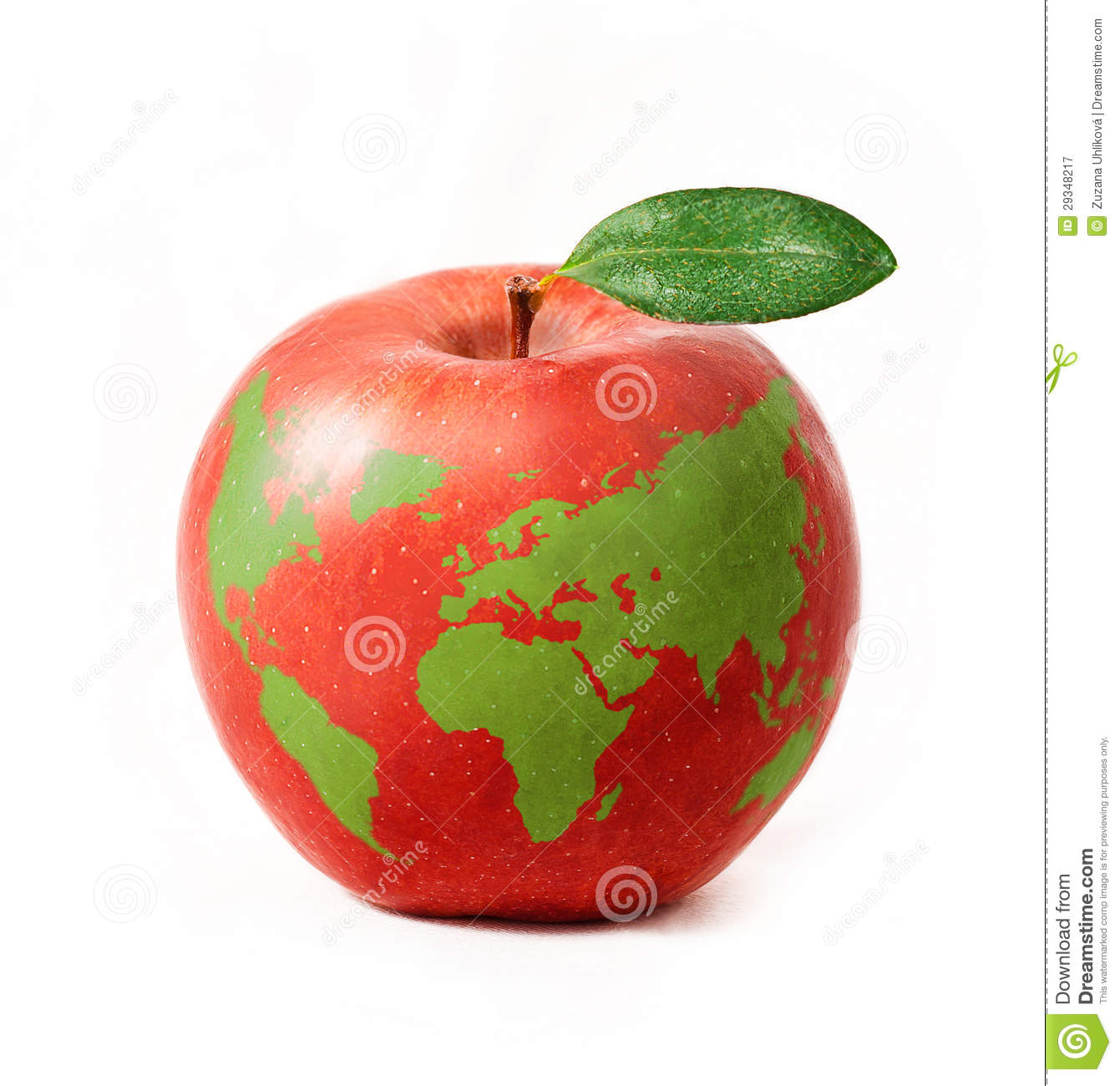 Red apple with green world map isolated on white background stock royalty free stock photo gumiabroncs Images