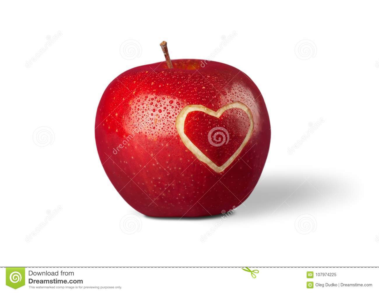 Red Apple With A Heart Shaped Cut Out On Stock Image Image