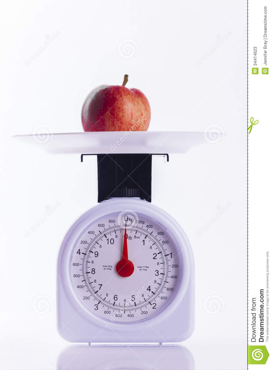 Red Apple On Kitchen Weighing Scales On White Background ...