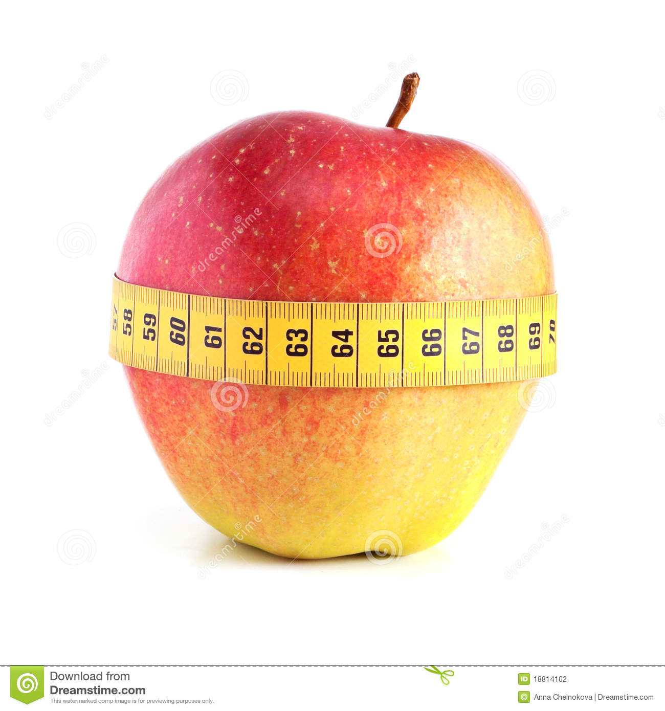 Red apple with measurement.