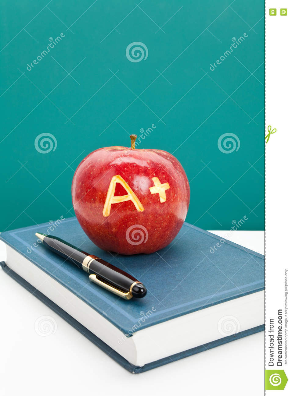 Red apple and Textbook stock image. Image of back ...