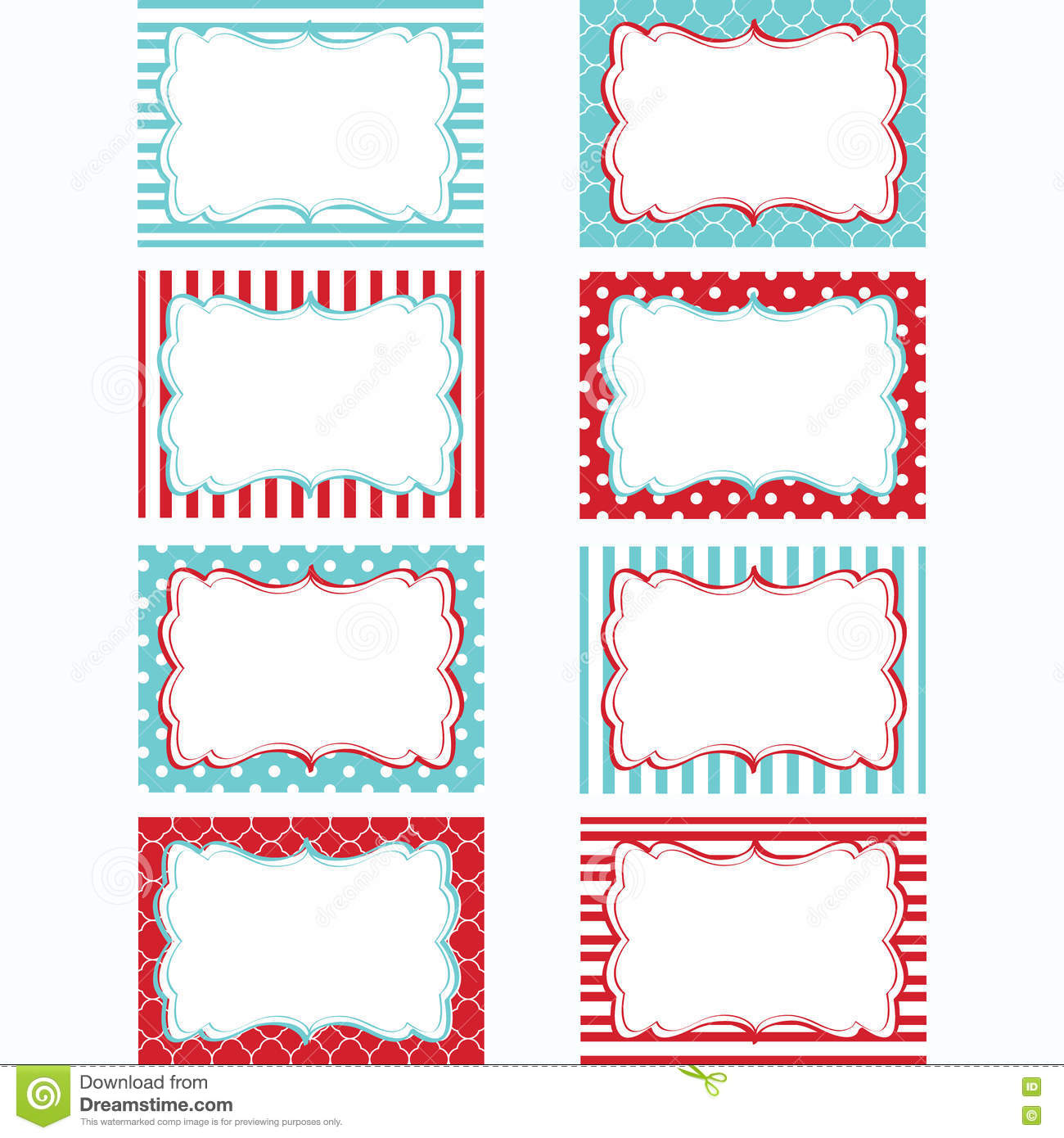 red and aqua printable labels set tags photo frame gift tags