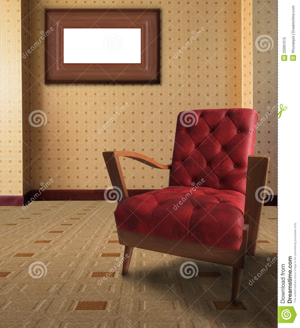 red chair living room room with chair and picture frame stock photography 14242