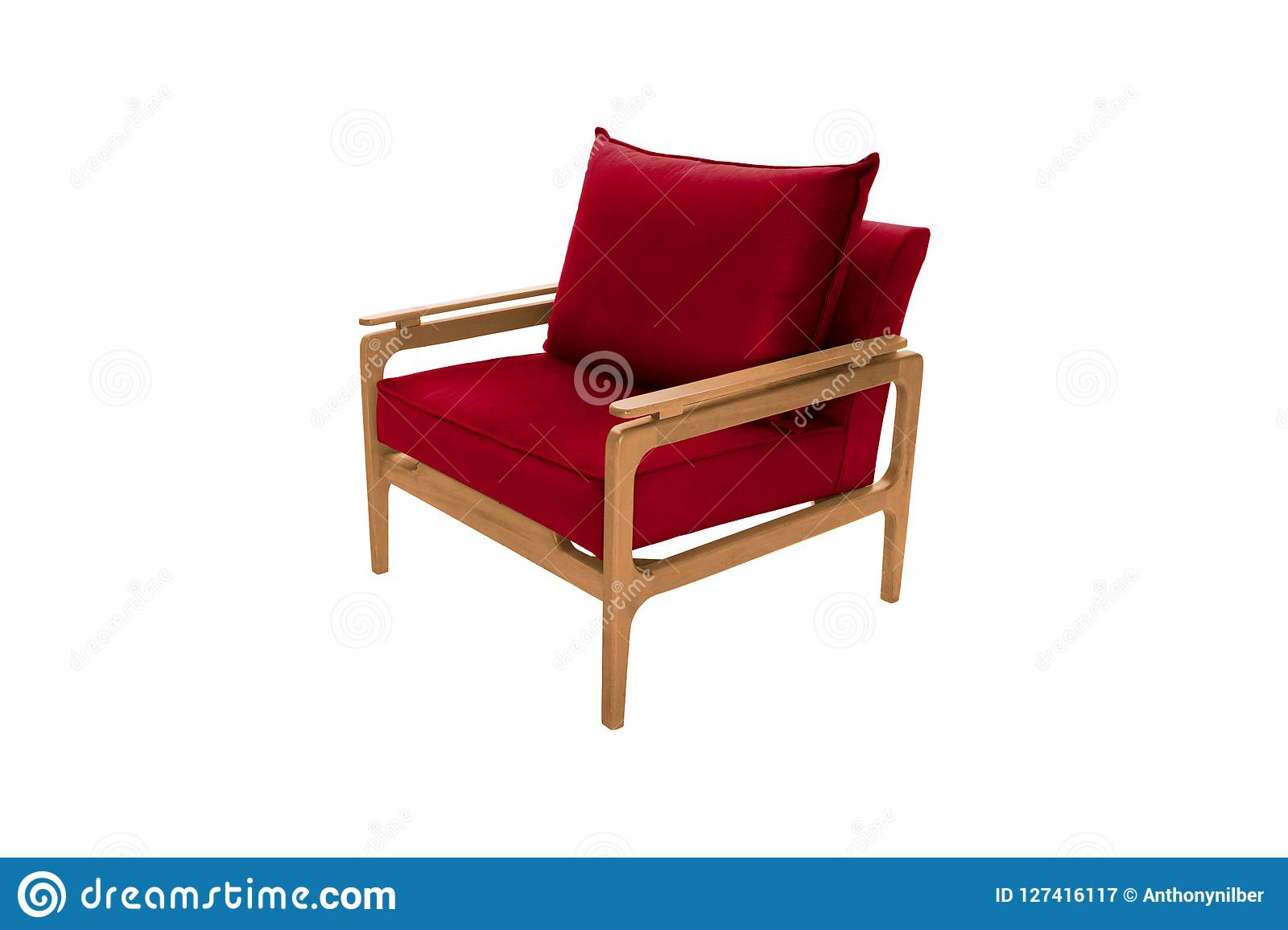 Red fabric and wood armchair modern designer