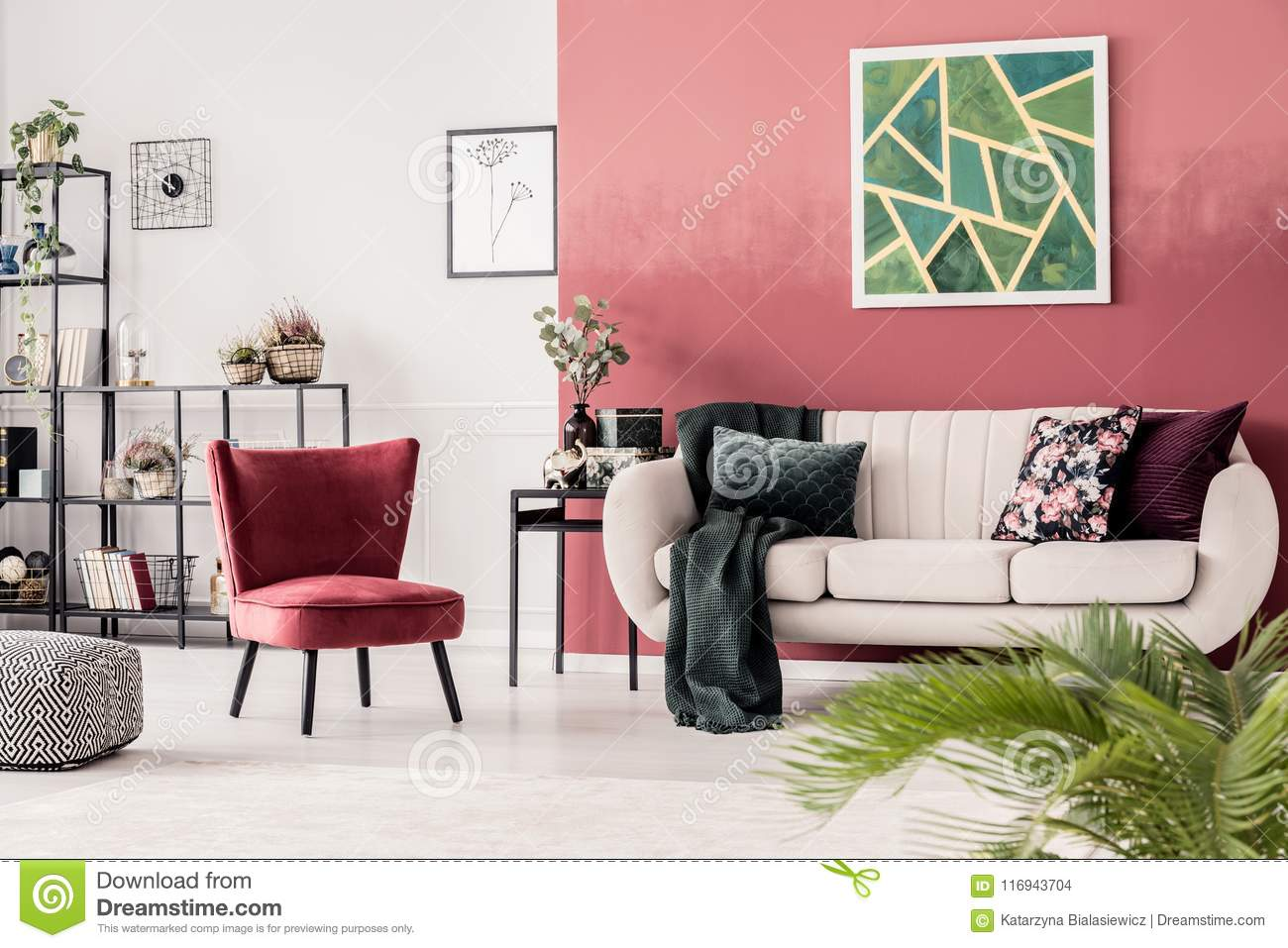 Red Cozy Living Room Interior Stock Photo - Image of green ...